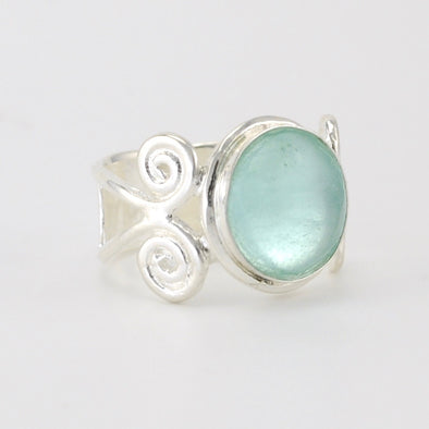 Silver Roman Glass Round Ring Size 7