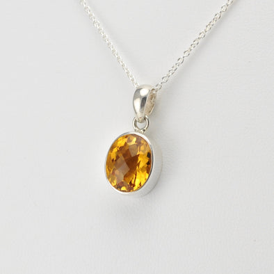 Silver Citrine 9x11mm Oval Necklace