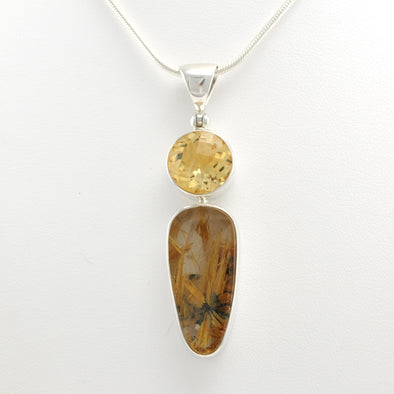 Silver Citrine Rutilated Quartz Pendant