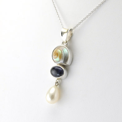 Silver Malabar Shell Iolite Pearl Necklace
