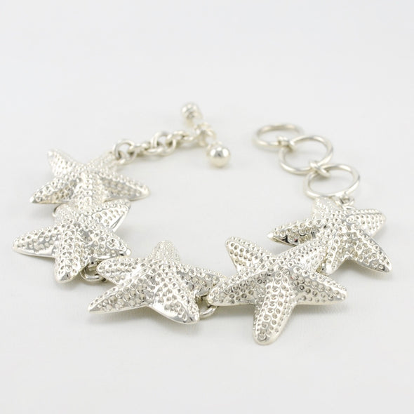 Sterling Silver Starfish Toggle Bracelet
