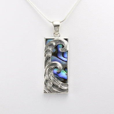 Silver Abalone Rectangular Wave Pendant