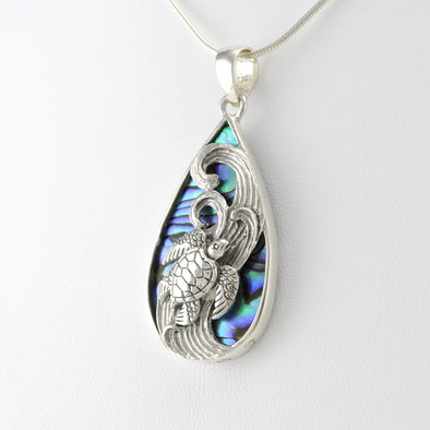 Silver Abalone Tear Sea Turtle Pendant