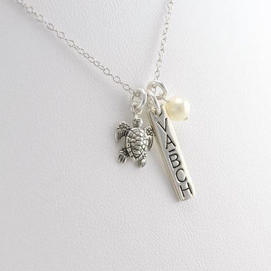 Virginia Beach Souvenir Necklace with Sea Turtle