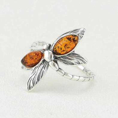 Baltic Amber Dragonfly Ring