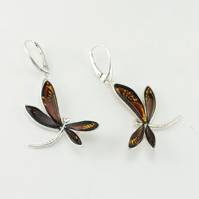 Baltic Amber Dragonfly Earrings