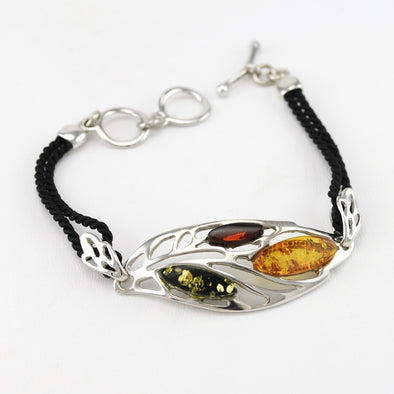 Multicolored Amber Leaf Bracelet