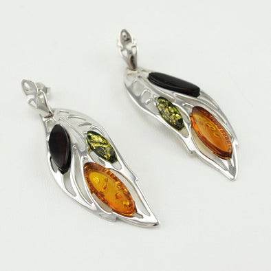 Multicolored Amber Leaf Earrings