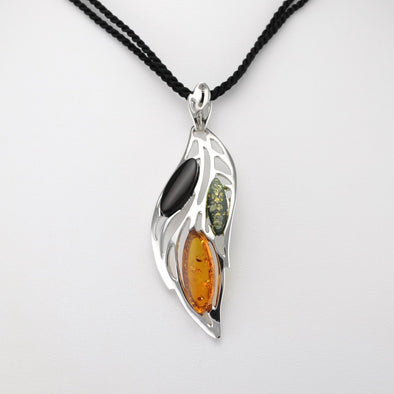 Multicolored Amber Leaf Necklace