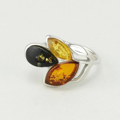 Multicolored Amber Leaf Ring Size 7