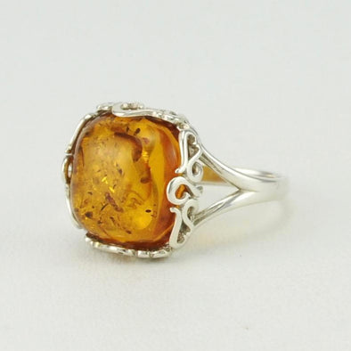 Baltic Amber Square Ring