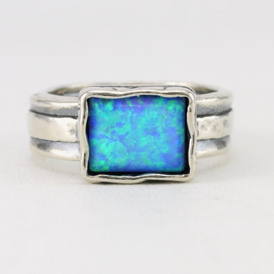 Created Opal Rectangular Ring