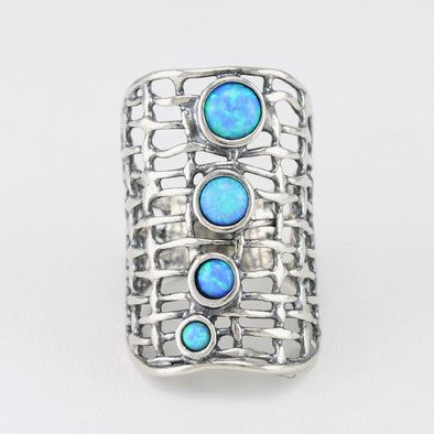 Created Opal 4 Stone Long Ring