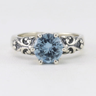 Blue Topaz Round Prong Set Ring