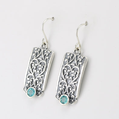 Blue Topaz Rectangle Scroll Dangle Earrings