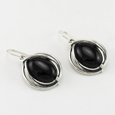 Black Onyx Oval Dangle Earrings