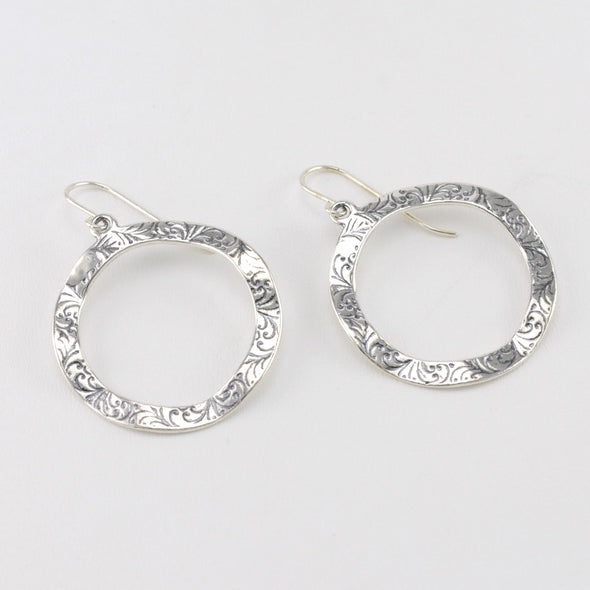 Silver Textured Open Circle Dangle Earrings