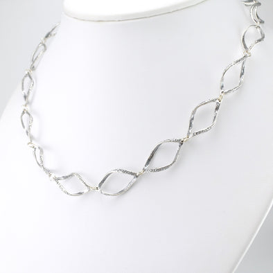 Sterling Silver Open Marquise Link Necklace
