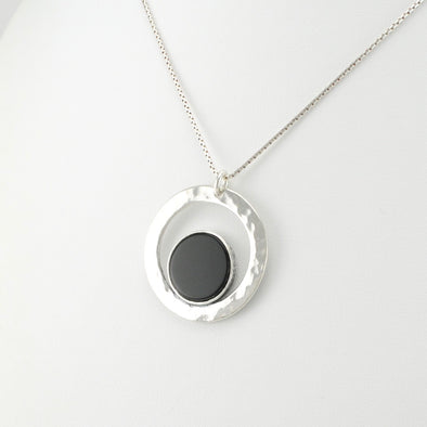 Black Onyx Circle in Circle Necklace