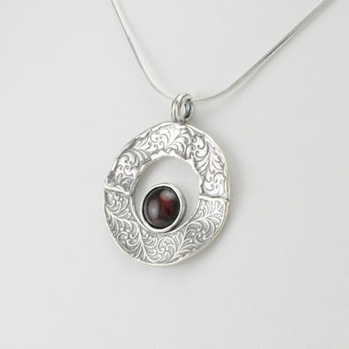 Garnet Round in Circle Necklace