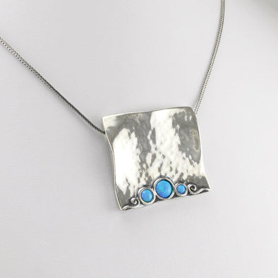3 Created Opal Square Necklace