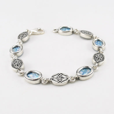 Roman Glass Oval Link Bracelet