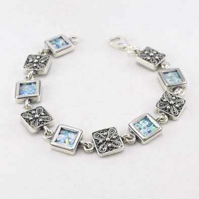 Roman Glass Square Link Bracelet