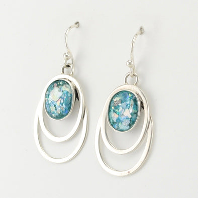 Roman Glass Oval in Open Oval Earrings