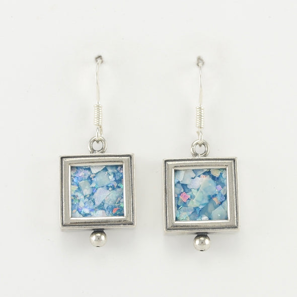 Roman Glass Square Dangle Earrings