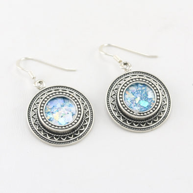 Roman Glass Circle Filigree Dangle Earrings