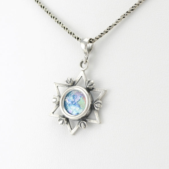 Roman Glass Circle Star of David Necklace