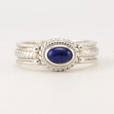Lapis 4x6mm Oval Rope Ring