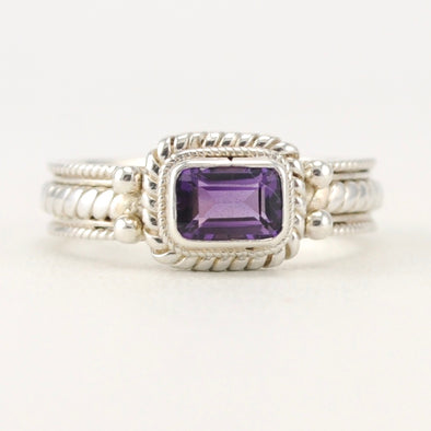 Amethyst 4x6mm Rectangular Rope Ring