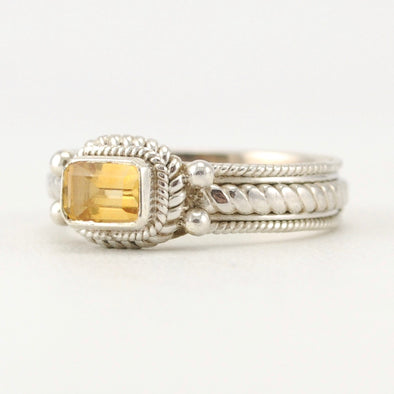 Citrine 4x6mm Rectangular Rope Ring