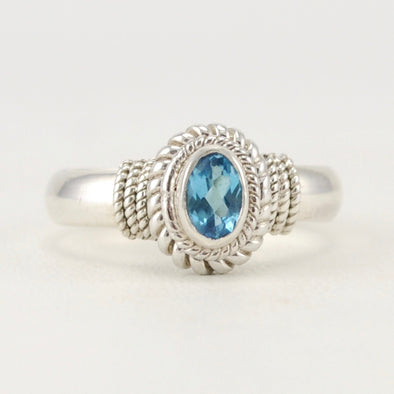 Blue Topaz 4x6mm Oval Rope Ring