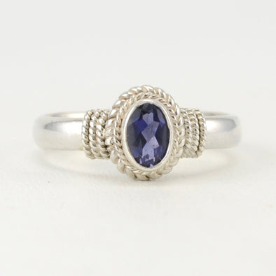 Iolite 4x6mm Oval Rope Ring