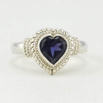 Iolite 7mm Heart Ring