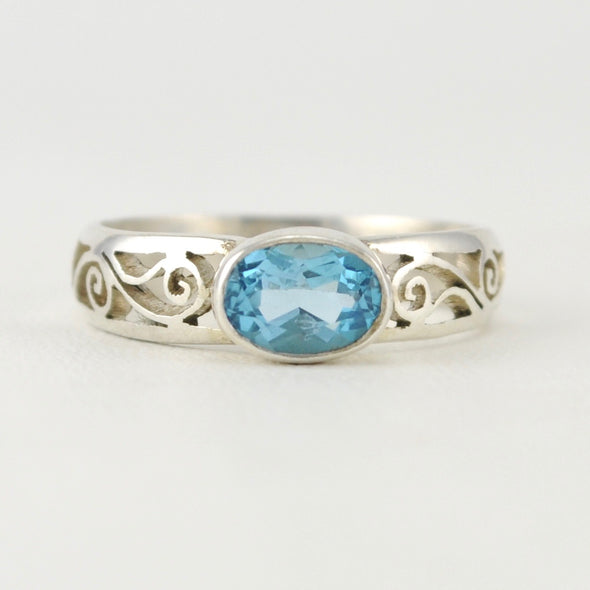 Blue Topaz Scroll Side Ring Size 7