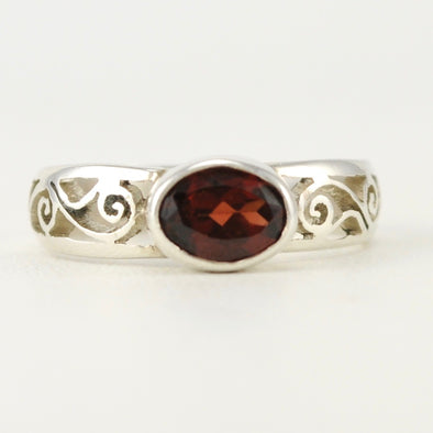 Silver Garnet Scroll Side Ring