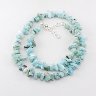 Larimar Tumble Chip Bead Necklace
