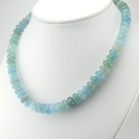 Aquamarine 10mm Rondelle Bead Necklace