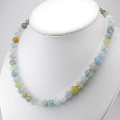 Aquamarine 9mm Round Facet Bead Necklace