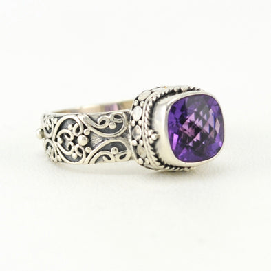 Silver Amethyst 8mm Square Bali Ring