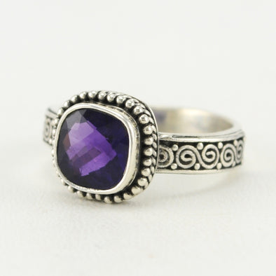 Silver Amethyst 8mm Square Scroll Band Ring