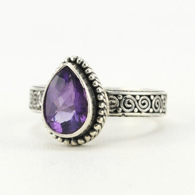 Silver Amethyst 7x9mm Tear Scroll Band Ring
