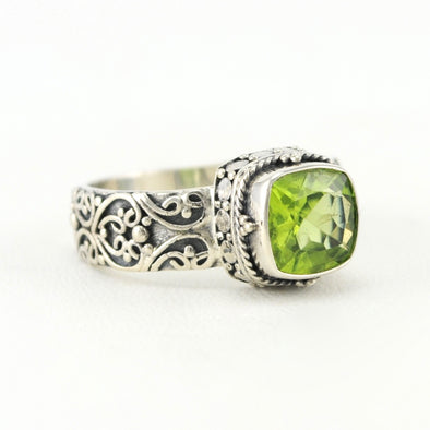 Silver Peridot 8mm Square Bali Ring