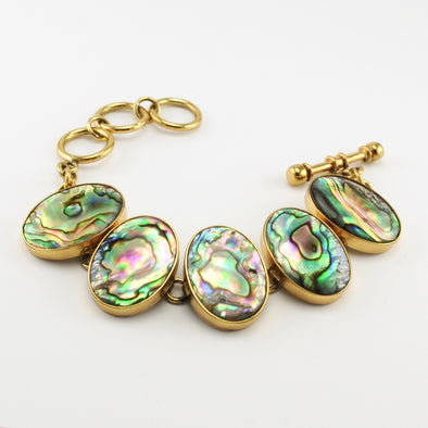 Abalone Oval Link Toggle Bracelet