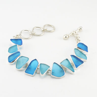 Aqua Recycled Glass Toggle Bracelet