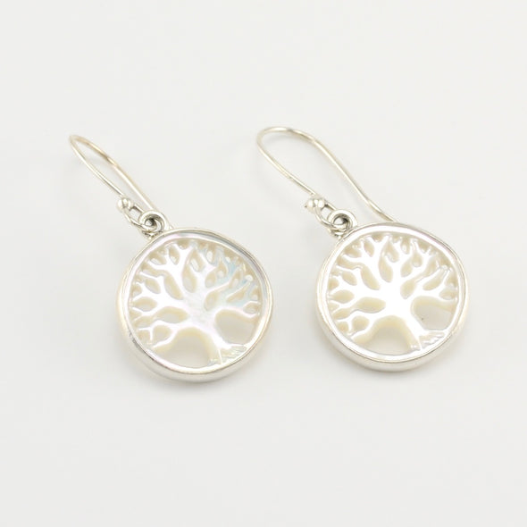 Silver Mother of Pearl Tree Earrings
