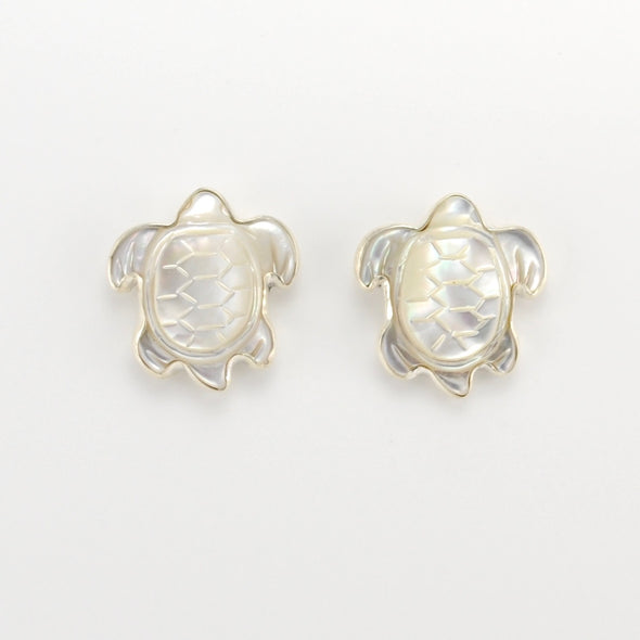 Silver Mother of Pearl Turtle Post Earrings